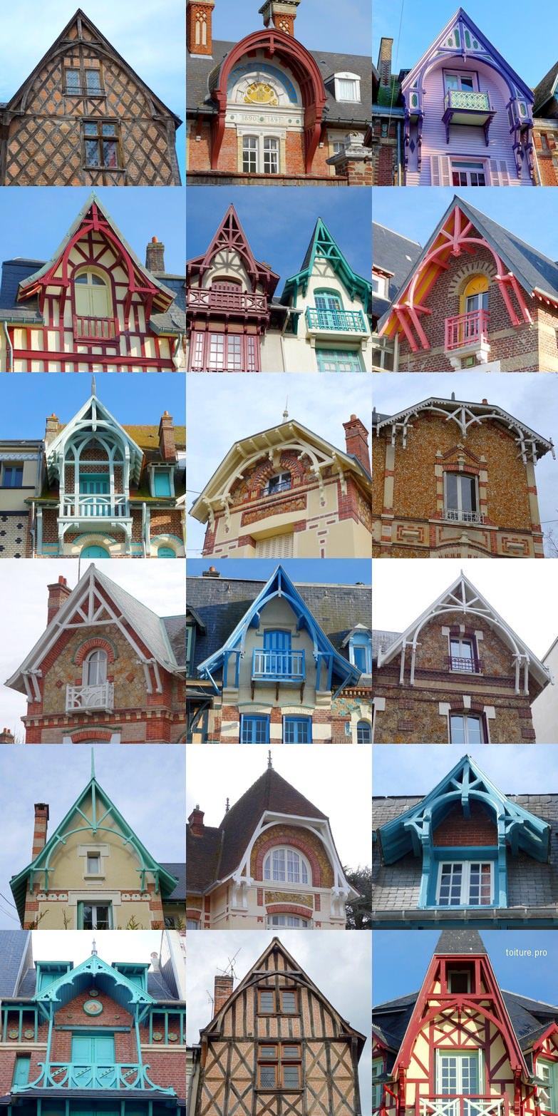Florilège de bâtiments comportant une ferme de charpente apparente ou débordante d'avant-toit ou d'avant-corps.
