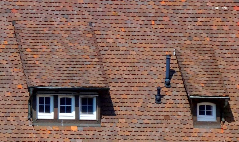 Lucarnes rampantes sur une toiture en tuiles plates.
