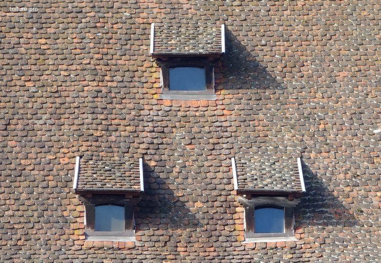 Lucarnes rampantes en bois sur une toiture en tuiles.