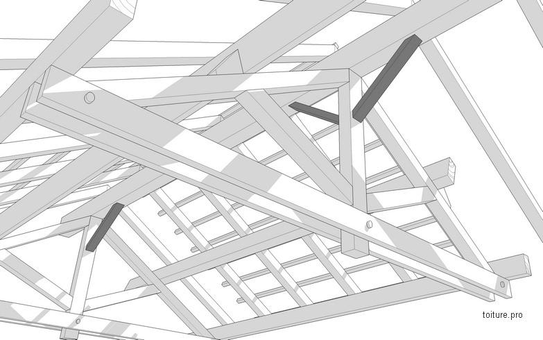 Schéma technique d'un aisselier de charpente en bois.