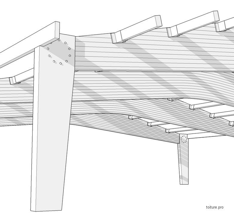 Schéma technique d'une charpente en bois lamellé collé sur piliers.