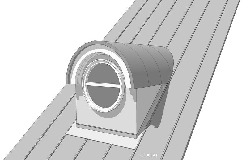 Schéma technique d'une lucarne oeil de boeuf sur une toiture en zinc.