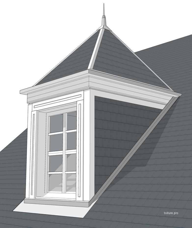 Schéma technique d'une lucarne à pavillon avec une toiture pyramidale à 4 pans.