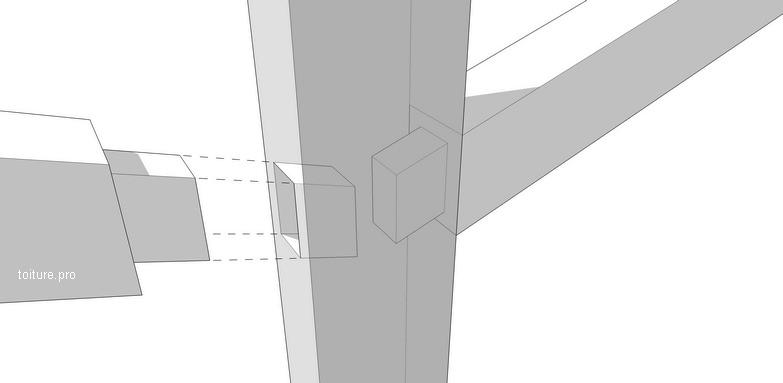 Schéma technique d'un assemblage de charpente de type tenon-mortaise.