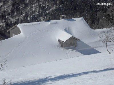 En montagne, la charge de neige peut devenir importante sur les toitures.