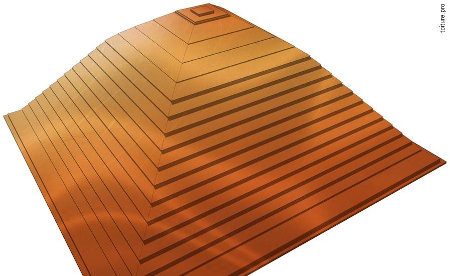 Couverture en cuivre à joint horizontal, dite également en gradins ou à ressaut.