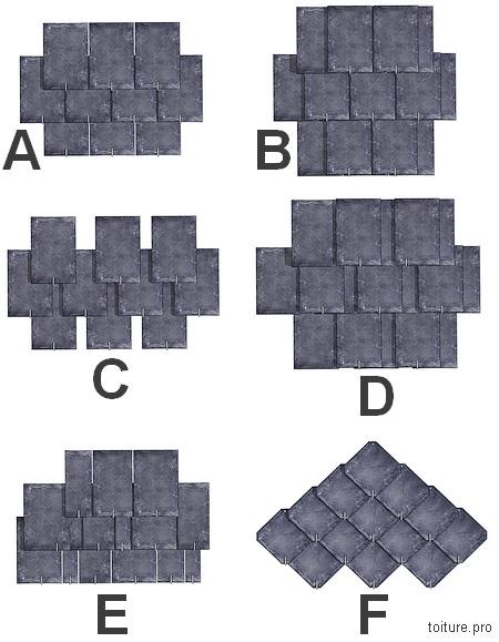 Les différents types de poses d'ardoises : à pureau entier, développé, à claire-voie ordinaire et développée, en losange et brouillée.