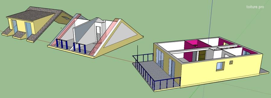 Plan de création et de fabrication d'une lucarne sur SketchUp.