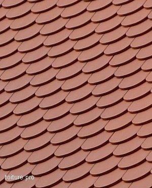 Tuiles terre cuite de type écaille ou queue de castor.