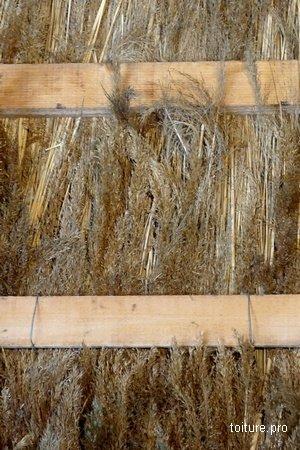 Pose d'une toiture en chaume sur liteaux bois.